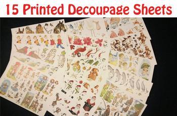 15 A4 Printed Decoupage Sheets . *