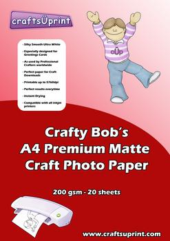 Crafty Bob's A4 Premium Matte Craft Paper 200gsm Pack of 20 . Crafty Bob