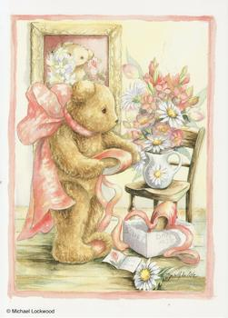Teddy Bear with Ribbons and Flowers - 5