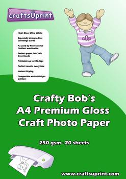 Crafty Bob's A4 Premium Gloss Craft Paper 250gsm Pack of 20 . Crafty Bob