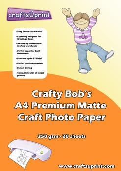 Crafty Bob's A4 Premium Matte Craft Paper 250gsm Pack of 20 . Crafty Bob