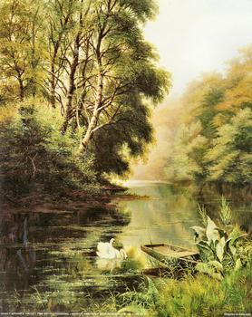 Swan Print by Arthur H Davies 10