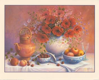 Red Flower, Fruit and Cherry Table by Trisha Hardwick 10