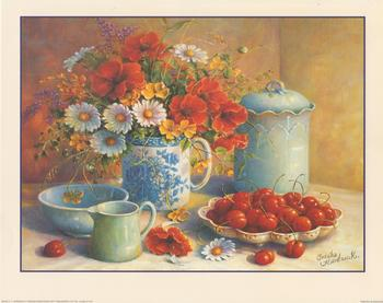 Table of Ripe Cherries and Flowers by Tricia Hardwick B2343 Trisha Hardwick