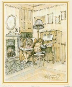 Bygone Days Print 3 - PIANO PRACTICE by M L Clarkson - 5