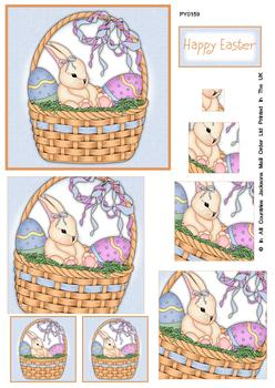 PACK OF 5 -- Happy Easter Blue Background Bunny Spiral Pyramid Sheet . Jacksons