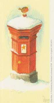 PACK OF 5 -----Red Letter Box with Robin 55mm x 126mm Print by Michael Lockwood 0706 . Michele Marsden