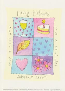 Pack of 5 ** Happy Birthday Topper - Wine & Cake / Have a Cool Day by Michael Lockwood Size 4