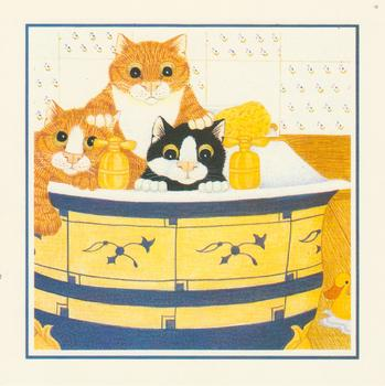 PACK OF 5 - Trio of Cats in the Bath - Card Topper 5.5