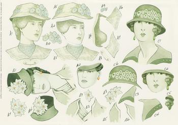 PACK OF 5 ----3 Vintage Ladies - Step by Step Sheet - 29 . -