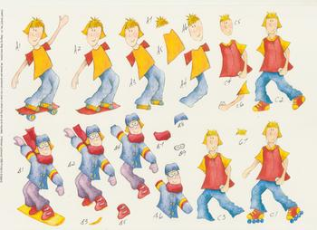 PACK OF 5 - Skateboarder Roller Skater and Snowboarder - Step by Step Sheet by Michael Lockwood Craft Sheet No 74 . -