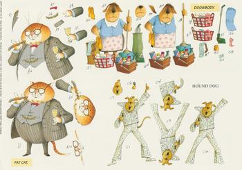 PACK OF 5****Craft Sheet No-70 - Fat Cat , Hound Dog & Dogsbody Themed Sheet by Michael Lockwood -Jacksons mail Order
