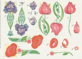 PACK OF 5 ***Tulip Rose and Bluebell --Step by Step --Craft Sheet No 44 By Michael Lockwood . -Jacksons mail Order