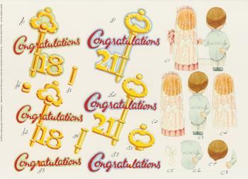 PACK OF 5 ***Craft Sheet No 67 - Congratulations 21st 18th Bride Groom Jacksons