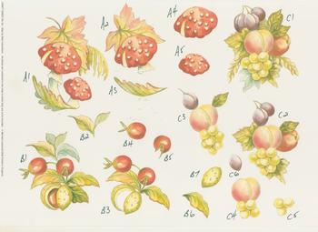 PACK OF 5 *** Mushrooms Cherries and Mixed Fruit*** Craft Sheet No50 By Michael Lockwood Jacksons