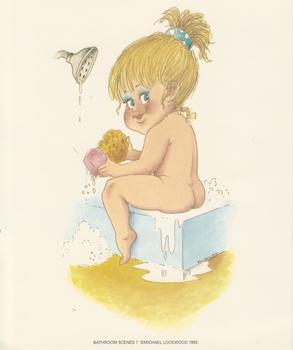 PACK OF 5 *** Bathroom Scenes No 7  - Little Girl Washing - by Michael Lockwood - 5