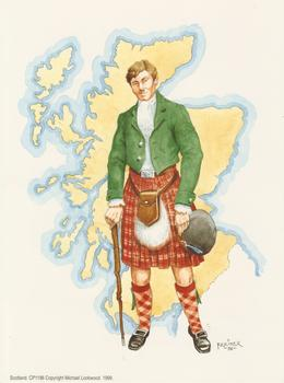PACK OF 5 *** Scottish Man in Kilt - Print By Faulkiner - 8