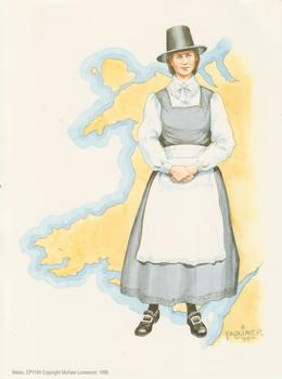 PACK OF 5 *** Traditional Welsh Lady in Costume - Faulkiner Print - 8