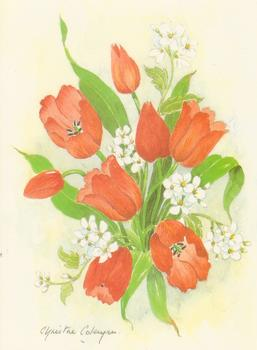 PACK OF 5 *** Red Flowers - Tulips - by Christine Coleyan ** Print Size 4