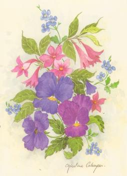 PACK OF 5 *** Pink & Purple Flowers Print by Christine Coleyan Print Size - 4