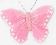 5cm x 1 x PINK -- FEATHER BUTTERFLY ON 20cm WIRE -Jacksons mail Order