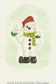 Pack of 5 --- Card Topper - 10cm x 15cm SNOWMAN PRINT by Michael Lockwood . -