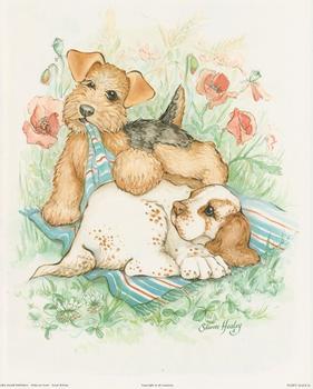 Puppy Days - Cocker Spaniel and Lakeland Terrier  By Sharon Healey (JA190) Print 10