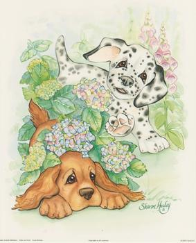 Puppy Days C - Spaniel and Dalmation By Sharon Healey (JA193) Print 10