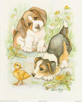 Puppy Days B - Baby Duck and Dogs By Sharon Healey (JA194) Print 10