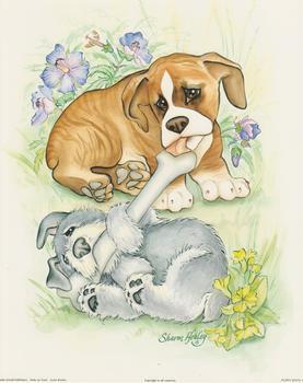 Puppy Days A - Boxer and Schnauzer Sharing a bone By Sharon Healey (JA195) Print 10