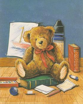 Classroom Teddy with Books and Crayons by Tricia Harrison ~~ Print 2405 ~~ Tricia Harrison