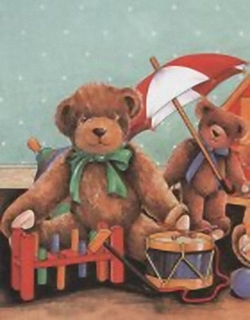 Teddies playing drum by TRICIA HARRISON *** Print 2407 Main Gallery Tricia Harrison