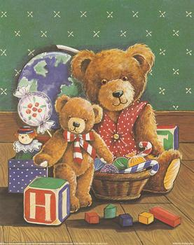 Teddies playing with toys by TRICIA HARRISON *** Print 2406 Tricia Harrison