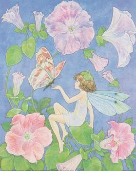 Flower Fairies - Feeling Blue touching Butterfly - **A Jacky Fenton Print ** B2410 ~~ 10