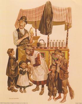 Street Vendors Selling Chestnuts  - 10 x 8 Ronald Embleton Print - B23956 . Ronald Embleton