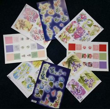 Pack of 8 Delicate Flowers  & Water Colours Die Cuts - 30th 40th 50th 60th 70th 80th 90th Birthdays . -Jacksons mail Order