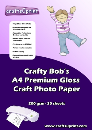 Crafty Bob's A4 Premium Gloss 200g Craft Photo Paper . Crafty Bob