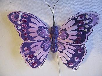 1 x Purple 11cm FEATHER BUTTERFLY ON 20cm WIRE *