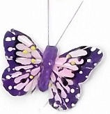 1 x PURPLE --  7cm FEATHER BUTTERFLY ON 20cm WIRE -Jacksons mail Order