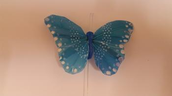 1 x Turquoise 11cm FEATHER BUTTERFLY ON 20cm WIRE *