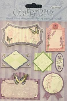 Blank Sentiments with Butterfly Theme - 7 x 3D Toppers - Various Sizes - . -