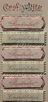 Pink & Green Themed Sentiment Tags - Remember & Congratulations . -Jacksons mail Order