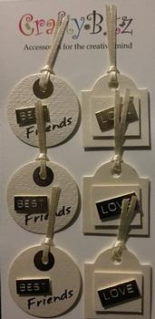 Cream Pearlised Gift Tag Embellisments with Friends & Love Sentiments in Gold . -Jacksons mail Order