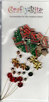 Christmas Wreath & Stars Jewelled Card Embellishment . *