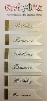 Birthday & Romance Flag Shaped Senitments / Embellishments . -Jacksons mail Order