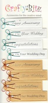 Happy Anniversary / Wedding / Congratulations - Topper Sentiments - 6 Toppers - 2 colours PS120 . -