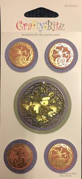 5 x Oriental Circles - 3D Accessories Stickers for CardMaking PS137 . -