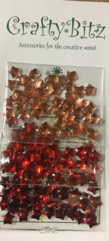 Star Jewel Embellishment - Gold / Light Red / Dark Red . -Jacksons mail Order