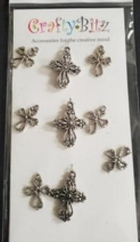 9 x Ornate Metal Crosses Card Topper Embellishments . *