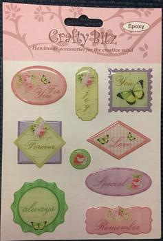 Crafty Bitz Sentiment Plaquard Stickers - For You / Love / Special / Forever / Remember / Always . -Jacksons mail Order